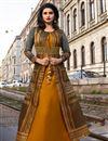image of Prachi Desai Party Wear Long Fancy Art Silk Mustard Kurti With Koti