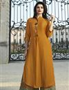image of Prachi Desai Party Wear Printed Fancy Rayon Fabric Mustard Kurti With Palazzo