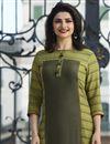 photo of Prachi Desai Green Rayon Fabric Party Style Printed Kurti With Palazzo