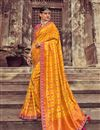 image of Occasion Wear Art Silk Fabric Weaving Work Saree In Orange Color With Designer Blouse