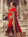 image of Art Silk Fabric Weaving Work Designs On Red Color Reception Wear Saree With Attractive Blouse