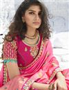 photo of Pink Color Chic Sangeet Wear Art Silk Fabric Embroidered Saree