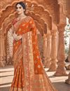 image of Orange Color Function Wear Fancy Art Silk Fabric Weaving Work Saree