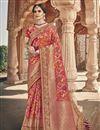 image of Function Wear Fancy Art Silk Fabric Peach Color Weaving Work Saree