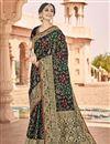 image of Function Wear Black Color Fancy Art Silk Fabric Weaving Work Saree