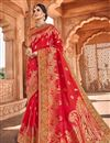 image of Function Wear Art Silk Fabric Fancy Weaving Work Saree In Red Color