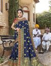 image of Trendy Art Silk Function Wear Navy Blue Embroidered Saree