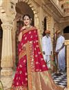 image of Function Wear Trendy Dark Pink Embroidered Saree In Art Silk Fabric
