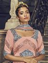 photo of Peach Color Net Fabric Sangeet Wear Sequins Work Lehenga Choli