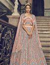 image of Peach Color Net Fabric Sangeet Wear Sequins Work Lehenga Choli