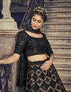 photo of Net Fabric Black Color Wedding Wear Sequins Work Lehenga Choli