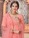 picture of Wedding Wear Peach Color Sequins Work Lehenga Choli In Georgette Fabric