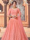 image of Wedding Wear Peach Color Sequins Work Lehenga Choli In Georgette Fabric
