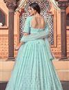 photo of Georgette Fabric Wedding Wear Light Cyan Color Sequins Work Lehenga Choli