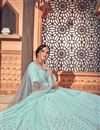 picture of Georgette Fabric Wedding Wear Light Cyan Color Sequins Work Lehenga Choli