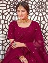 picture of Burgundy Color Sequins Work Wedding Wear Lehenga Choli In Georgette Fabric