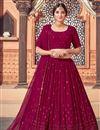 image of Burgundy Color Sequins Work Wedding Wear Lehenga Choli In Georgette Fabric