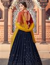 photo of Wedding Wear Georgette Fabric Sequins Work Lehenga Choli In Navy Blue Color