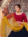 picture of Wedding Wear Georgette Fabric Sequins Work Lehenga Choli In Navy Blue Color