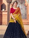image of Wedding Wear Georgette Fabric Sequins Work Lehenga Choli In Navy Blue Color