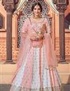 image of Wedding Wear Peach Color Georgette Fabric Sequins Work Lehenga Choli