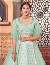 picture of Sea Green Color Wedding Wear Georgette Fabric Sequins Work Lehenga Choli