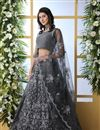image of Embroidered Net Fabric Bridal Lehenga In Grey Color with Designer Choli