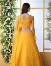 photo of Mustard Color Net Fabric Wedding Wear 3 Piece Lehenga Choli With Embroidery Work
