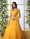 image of Mustard Color Net Fabric Wedding Wear 3 Piece Lehenga Choli With Embroidery Work