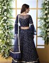 photo of Net Fabric Designer Bridal Lehenga With Embroidery Work On Navy Blue Color