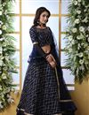 image of Net Fabric Designer Bridal Lehenga With Embroidery Work On Navy Blue Color