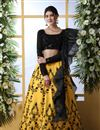 image of Eid Special Embroidered Yellow Color Bridal Lehenga In Art Silk Fabric With Designer Choli