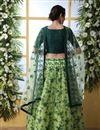 photo of Eid Special Net Fabric Wedding Wear 3 Piece Lehenga In Green Color With Embroidery Work