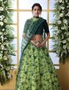 image of Eid Special Net Fabric Wedding Wear 3 Piece Lehenga In Green Color With Embroidery Work