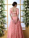 photo of Pink Color Net Fabric Reception Wear Lehenga Choli With Embroidery Work