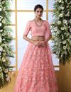 image of Pink Color Net Fabric Reception Wear Lehenga Choli With Embroidery Work