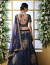 photo of Eid Special Art Silk Fabric Navy Blue Color Wedding Wear 3 Piece Lehenga Choli With Embroidery Work
