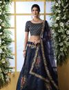 image of Eid Special Art Silk Fabric Navy Blue Color Wedding Wear 3 Piece Lehenga Choli With Embroidery Work