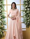 image of Eid Special Peach Color Designer Bridal Lehenga With Embroidery Work On Georgette Fabric