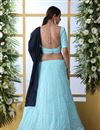photo of Eid Special Embroidered Wedding Wear Lehenga Choli In Sky Blue Color Georgette Fabric