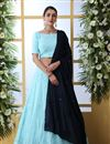 image of Eid Special Embroidered Wedding Wear Lehenga Choli In Sky Blue Color Georgette Fabric