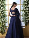 photo of Eid Special Art Silk Fabric Sangeet Wear Lehenga With Embroidery Work In Navy Blue Color