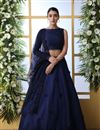 image of Eid Special Art Silk Fabric Sangeet Wear Lehenga With Embroidery Work In Navy Blue Color