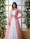 image of Georgette Fabric Wedding Lehenga Choli In White Color With Designer Koti