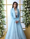 image of Art Silk Fabric Sky Blue Color Reception Wear Lehenga Choli With Designer Koti