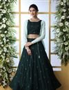image of Dark Green Color Cotton Fabric Wedding Wear 3 Piece Lehenga Choli With Designer Koti