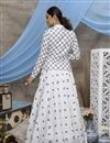 picture of Thread Embroidered White Color Sangeet Wear Cotton Fabric Lehenga With Jacket