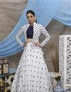 image of Thread Embroidered White Color Sangeet Wear Cotton Fabric Lehenga With Jacket