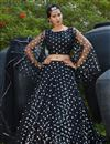 image of Black Color Net Fabric Reception Wear Lehenga
