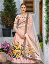 image of Pink Color Art Silk Fabric Embroidery Work Wedding Wear Lehenga